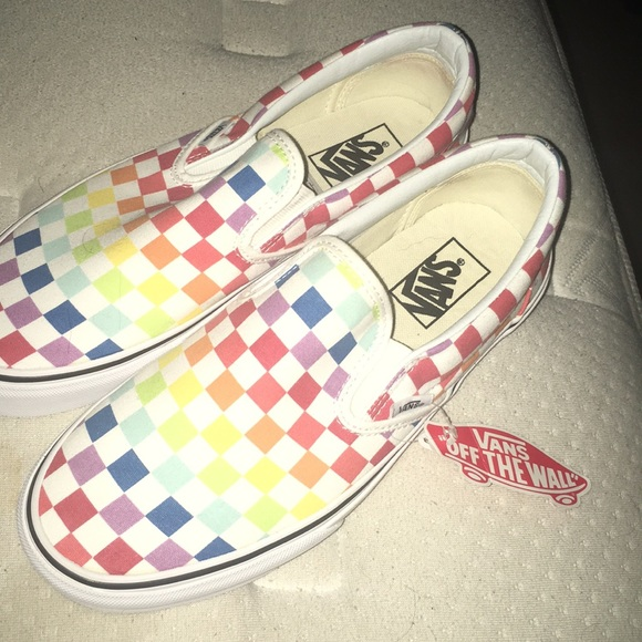 Vans Shoes | Slipon Rainbow Chex Skate